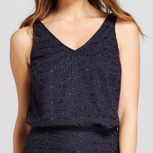 Navy Blue and Black Eyelet Tank Top